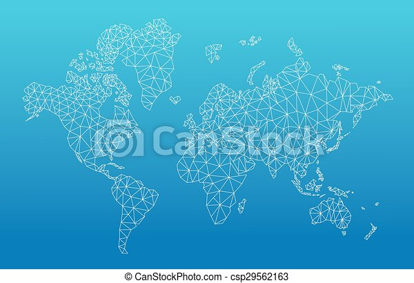 Geometric world map with the continents made of triangles clip art geometric world map csp29562163 gumiabroncs Image collections