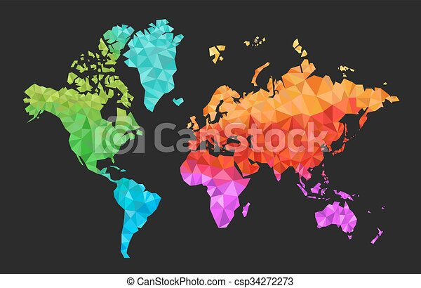 Geometric World Map In Colors Geometric World Map With The