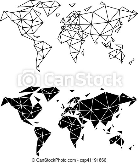 Geometric World Map Vector Abstract Geometric World Map Polygon