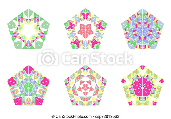Geometrical Colorful Abstract Mosaic Pentagon Logo Template Set