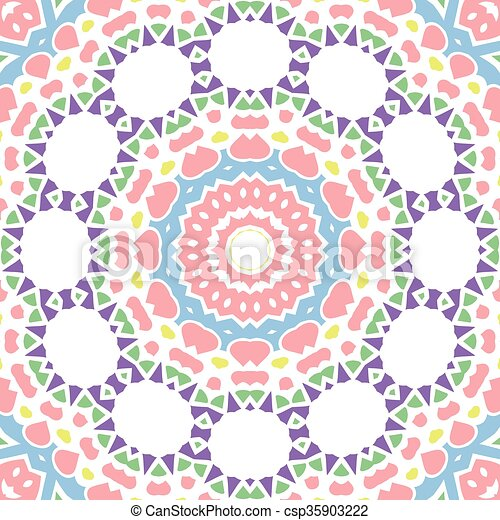 Geometrical seamless color flowers circles pattern - csp35903222