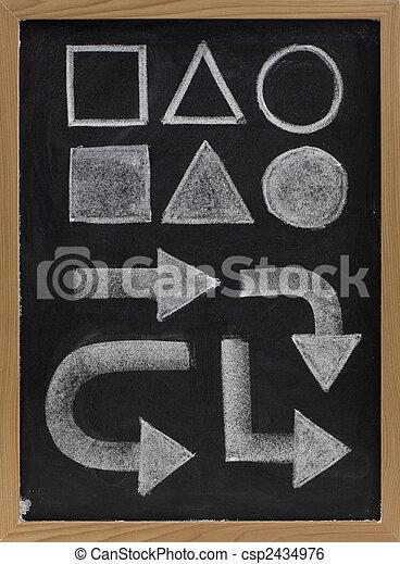 geometrical shapes and arrow - white chalk on blackboard - csp2434976