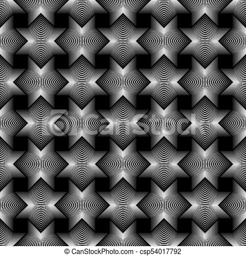 Geometrical Star Lines Seamless Pattern Black Background