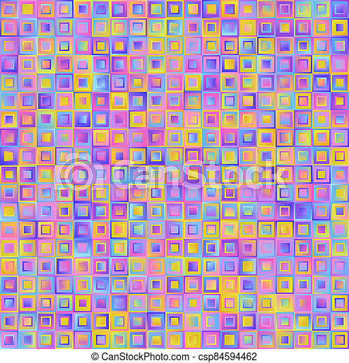 Geometrical Universal Abstract Pastel Gradient Seamless Pattern of Squares of Blue, Lilac, Pink, Violet, Yellow Colors. - csp84594462