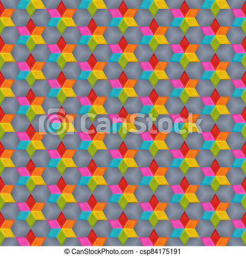 Geometrical Universal Abstract Seamless Pattern of Bright Blue, Green, Orange, Red, Pink, Yellow Rhombuses. - csp84175191