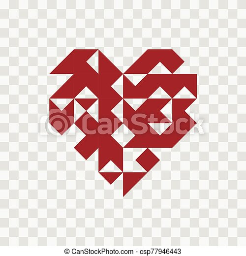Geometry heart icon on transparent background. - csp77946443