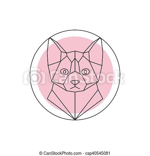 Geometryczny Głowa Kot Różowy Głowa Kot Tło Wektor Zwierzę