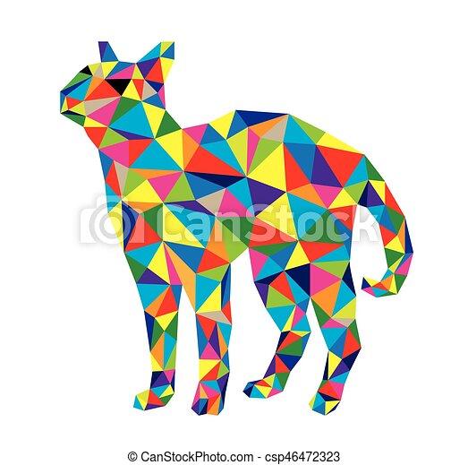 Geometryczny Kot Kot Geometryczny Wektor Sztuka Projektować