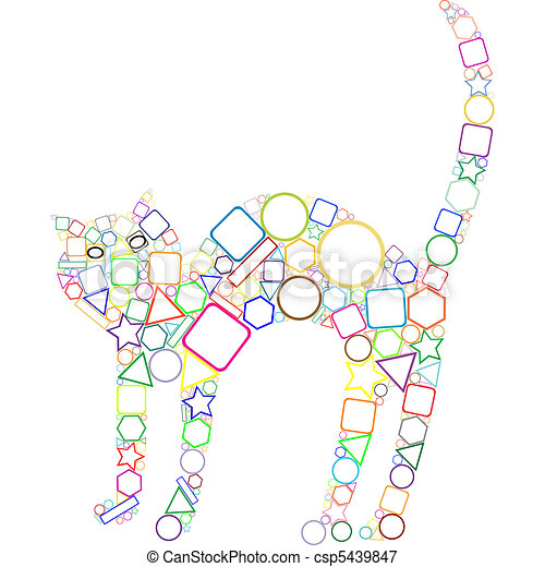 Geometryczny Kot Kot Geometryczny Sztuka Abstrakcyjny Ilustracja