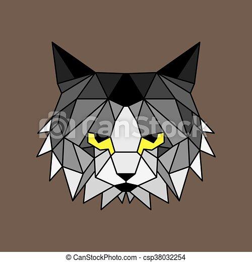 Geometryczny Kwestia Kot Kwestia Szary Wyrzygają Czarnoskóry
