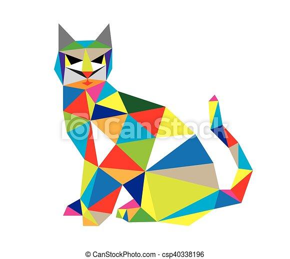 Geometryczny Sztuka Kot Geometryczny Wektor Projektować Sztuka