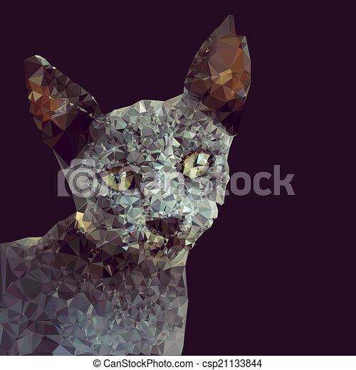 Geometryczny Zamiar Kot Geometryczny Wektor Projektować Tło Kot