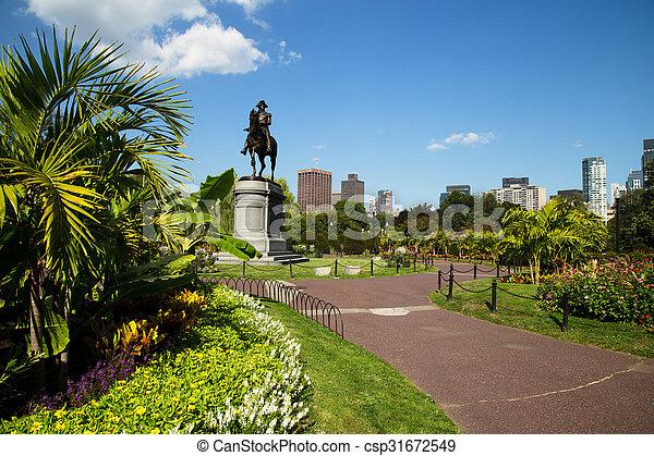 George Washington Statue in Boston Public Garden, Boston - csp31672549