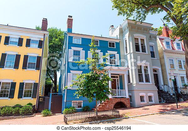 georgetown, historique, washington, district, façades - csp25546194