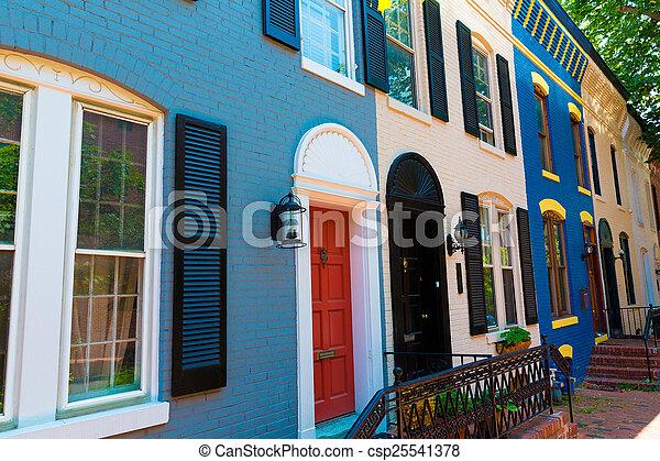 Georgetown historische Bezirksfassaden Washington - csp25541378
