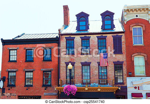 Georgetown historische Bezirksfassaden Washington - csp25541740
