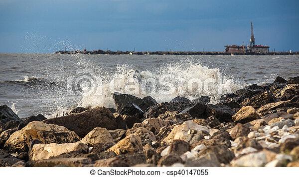 Georgia coast (Black sea) in storm, Poti
