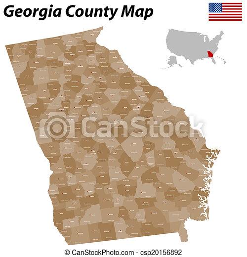 Georgia county map - csp20156892