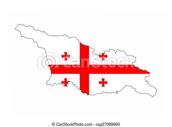 Stock Illustration Of Georgia Flag Map Georgia Country Flag Map - Georgia map drawing