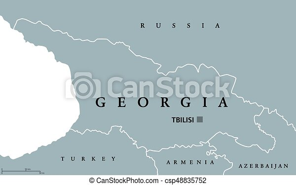 Georgia Political Map With Capital Tbilisi And International Borders
