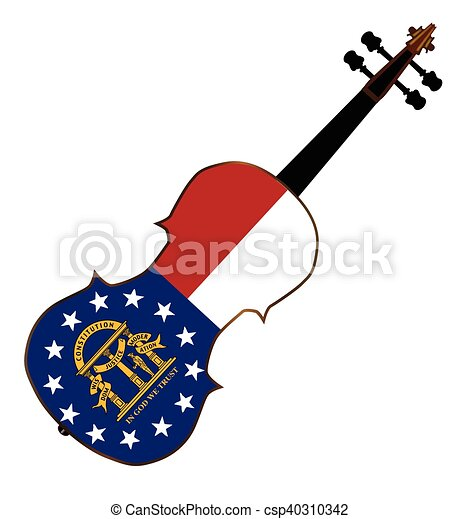 georgia state fiddle a typical violin with georgia state eps rh canstockphoto com