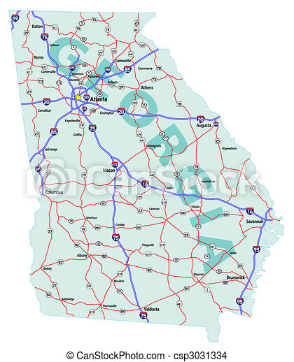 Georgia State Interstate Map Georgia State Road Map With Eps - Georgia map vector free download