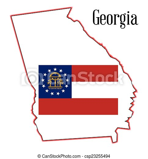 Georgia State Map And Seal State Map Outline Of Georgia Over A