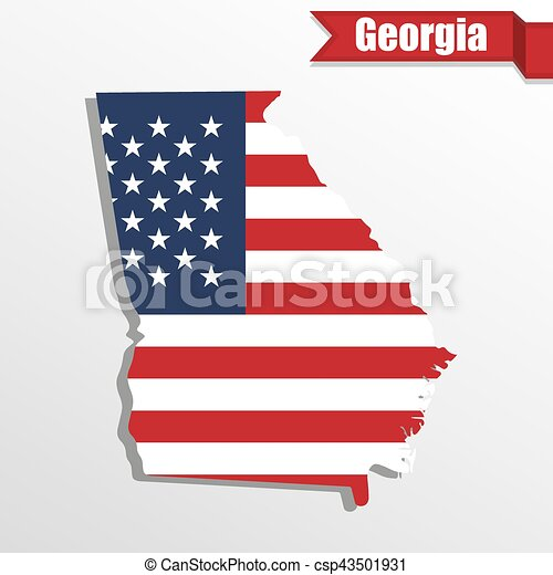 Georgia State Map With Us Flag Inside And Ribbon Georgia State Map