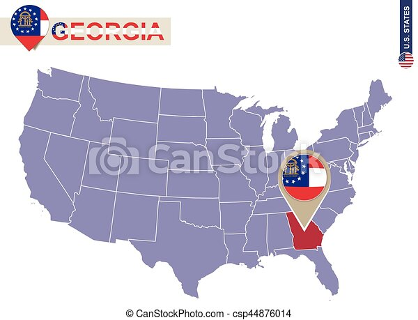 Georgia state on usa map georgia flag and map us states vector
