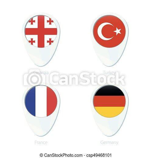 Georgia, Turkey, France, Germany flag location map pin icon. on albania flag map, australia flag map, ukraine flag map, italy flag map, kuwait flag map, american flag map, india flag map, canada flag map, finland flag map, sweden flag map, mexico flag map, france flag map, portugal flag map, russia flag map, south korea flag map, china flag map, netherlands flag map, hawaii flag map, ireland flag map, german flag states map,