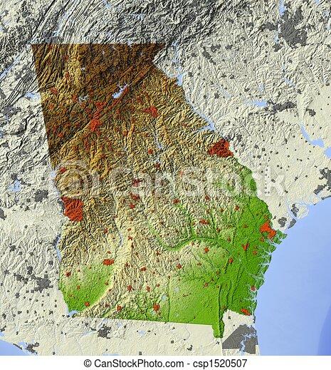 Georgia Us State Shaded Relief Map Georgia Us State Stock - Georgia usa map