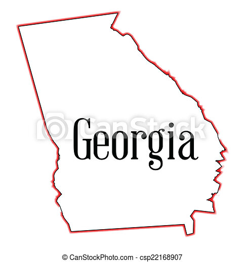 Vector Clipart Of Georgia State Map Outline Of Georgia Over A - Ga map vector