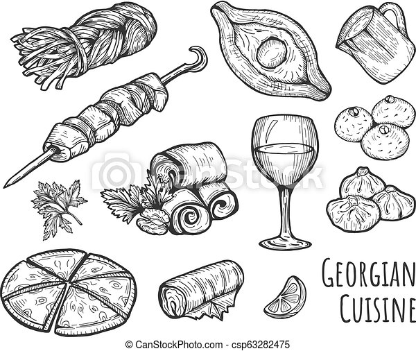 vector illustration of a ge ian cuisine set khinkali smoked  vector illustration of a ge ian cuisine set khinkali smoked sulguni khacha puri adjar khachapuri barbecue shashlik wine glass badrijani pkhali