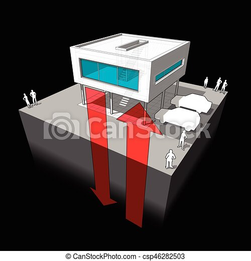Geothermal Energy Diagram Diagram Of A Modern House Or Villa