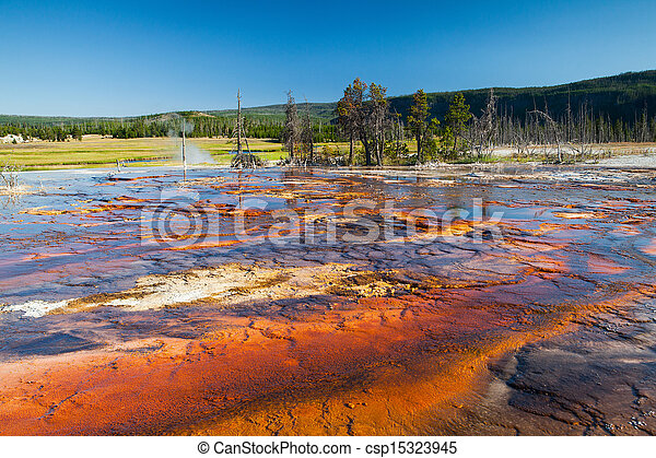 Geothermal field in Yellowstone National Park - csp15323945