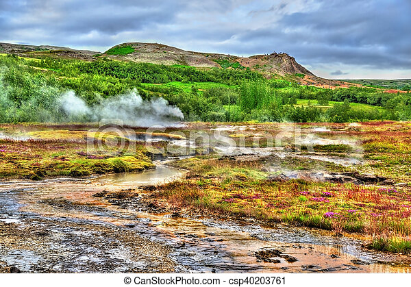 Geothermally active Haukadalur Valley in Iceland - csp40203761