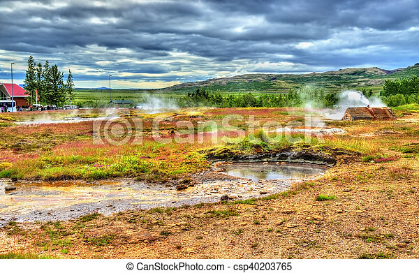 Geothermally active Haukadalur Valley in Iceland - csp40203765