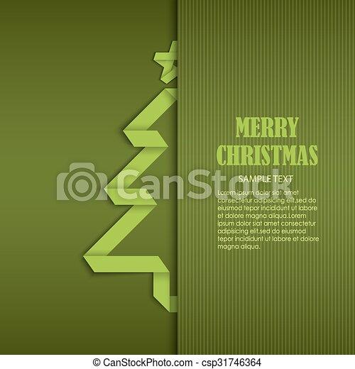 geplooide, boompje, ineengevouwen , papier, groene, mal, kerstmis kaart - csp31746364