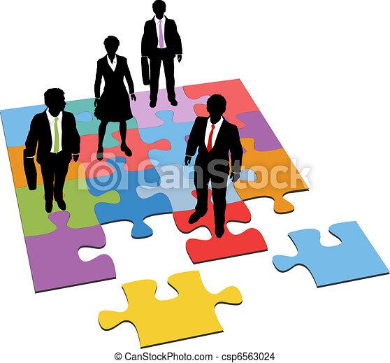 gerência, pessoas negócio, quebra-cabeça, solução, recursos - csp6563024