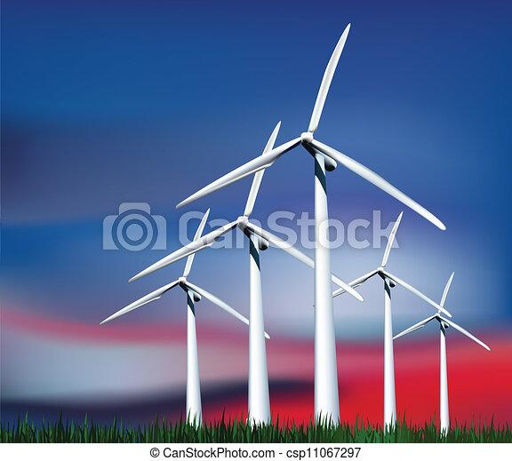 geradores, grass., vetorial, céu, vento - csp11067297