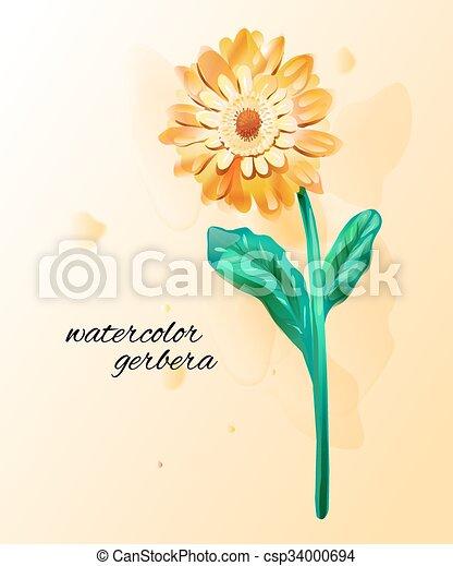 Gerbera Flowers Made In Watercolor