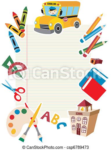 gereedschap, school, supplies., back - csp6789473