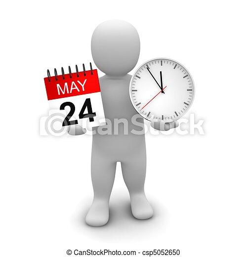 gereproduceerd, illustration., klok, calendar., vasthouden, 3d, man - csp5052650
