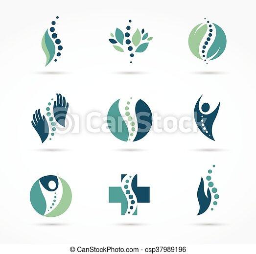 gerinc kezelése, fáj, ikonok, hát, csontbetegség, masszázs - csp37989196