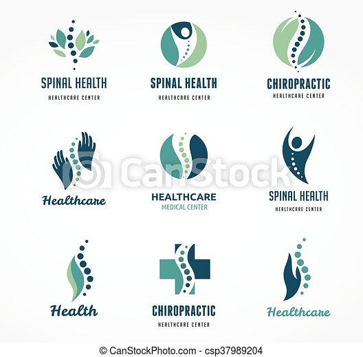 gerinc kezelése, fáj, ikonok, hát, csontbetegség, masszázs - csp37989204