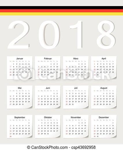 german 2018 calendar csp43692958