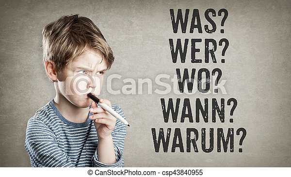 German 5W questions, what, who, where, when, why, Boy on grunge background - csp43840955