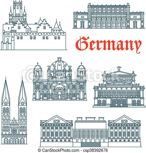 German architectural landmarks icon in thin lines - csp38392676