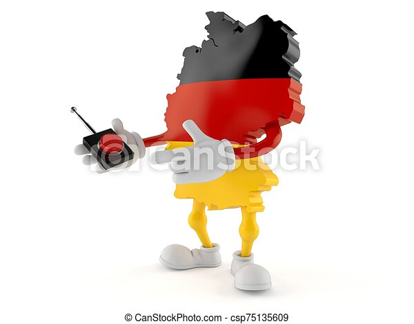 German character pushing button on white background - csp75135609