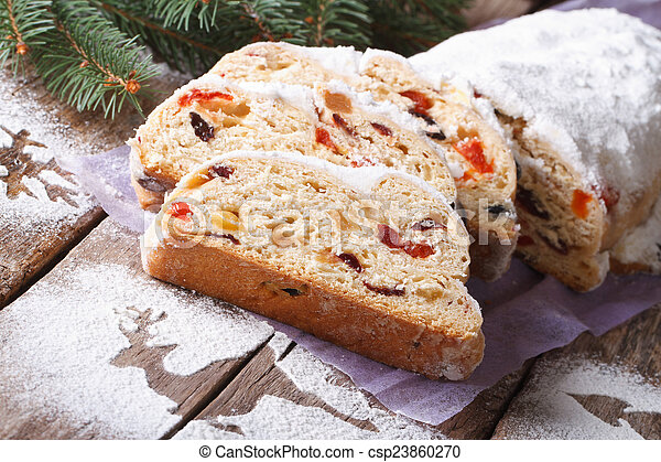 german christmas cake stollen with dry fruits and nuts horizonta csp23860270